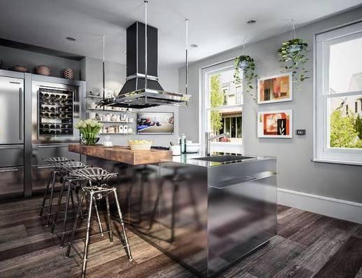 北欧厨房, 工业风, 吧椅, 抽油烟机, 橱柜, 厨房