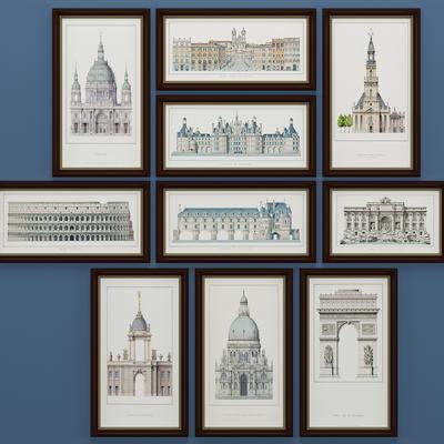 美式建筑装饰画, 壁画, 挂画