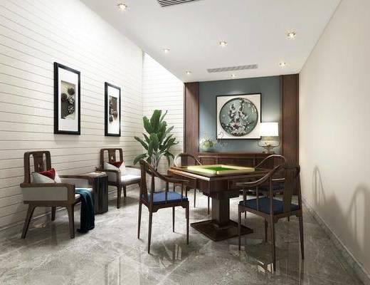 棋牌室, 装饰画, 单椅, 茶几