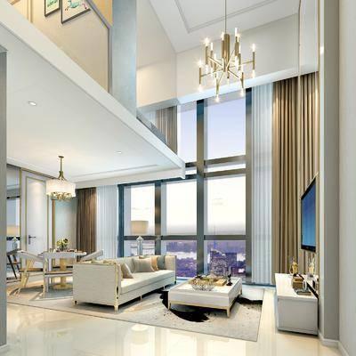 后现代客厅, 别墅, 客厅, 沙发组合, 现代金属吊灯, 餐桌椅, 后现代客厅别墅复式