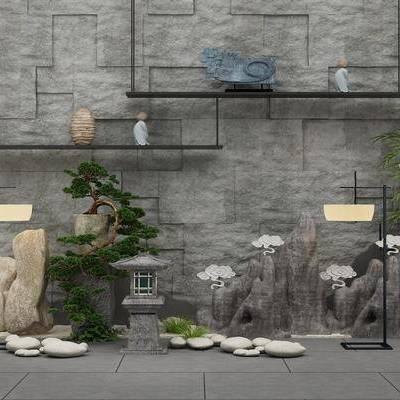 园林小品, 新中式, 花园, 庭院, 落地灯