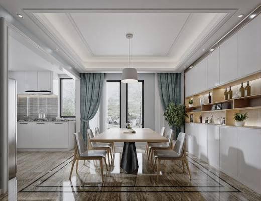 北欧, 厨房, 餐厅, 餐桌, 椅子, 单椅, 餐具, 吊灯, 置物柜, 摆件, 装饰品, 橱柜