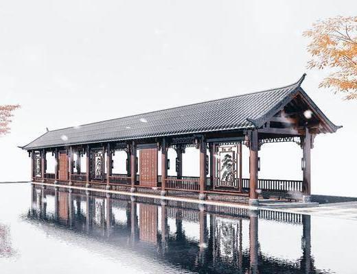 园林, 景观小品, 休闲长廊, 木结构, 青瓦顶廊架