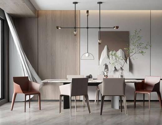 现代轻奢餐厅, 吊灯, 餐桌椅, 墙饰