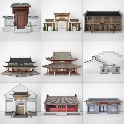 古建筑, 大殿, 门头, 大门, 墙构建房
