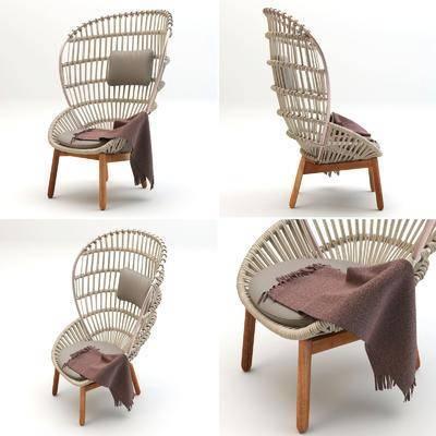 单椅, 现代椅, 藤编椅, 休闲椅, 现代