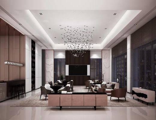 洽谈区, 餐桌, 餐椅, 单人椅, 吧台, 吧椅, 多人沙发, 单人沙发, 电视柜, 装饰柜, 边柜, 吊灯, 落地灯, 新中式