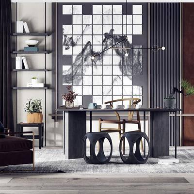 书桌, 桌椅组合, 摆件, 盆栽植物, 背景墙