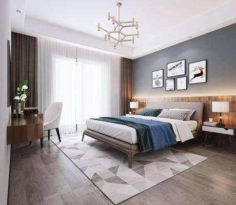 北欧, 卧室, 双人床