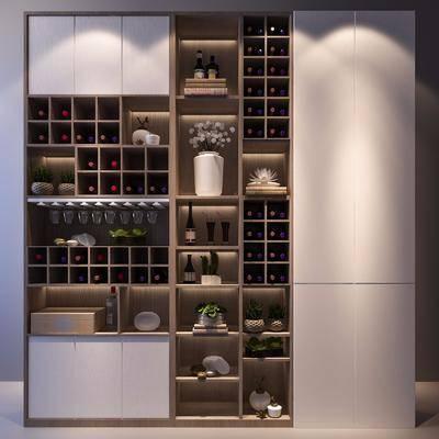酒柜, 现代酒柜, 现代, 红酒, 置物柜, 摆件, 装饰品