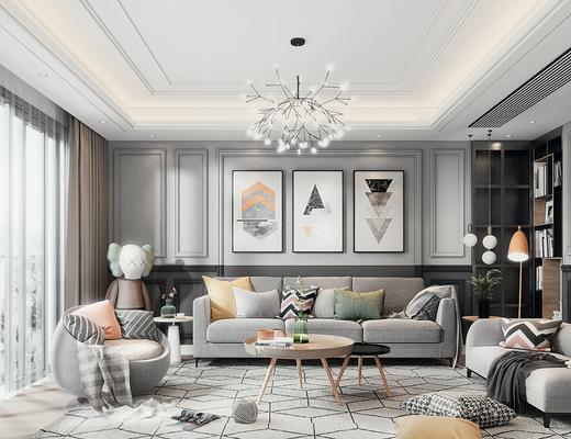 沙发组合, 茶几, 装饰画, 吊灯, 单椅, 墙饰