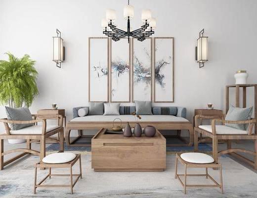 新中式沙发茶几组合, 沙发茶几组合, 沙发组合, 中式沙发茶几组合