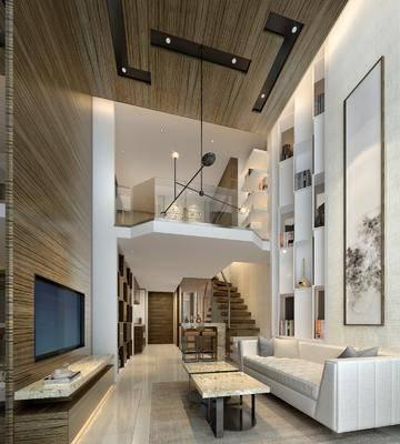 新中式客厅别墅复式, 新中式客厅, 别墅, 复式, 装饰画, 沙发, 吊灯, 餐桌椅