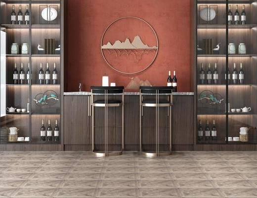 吧臺椅組合, 酒柜組合, 裝飾柜, 擺件組合, 墻飾, 現代