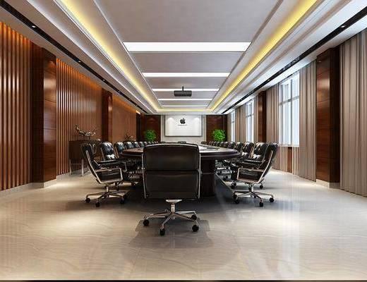 会议室, 会议桌, 办公椅, 单人椅, 投影仪, 现代