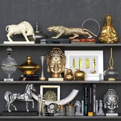 现代豹牛马象牙佛头佛像器皿书籍装饰画摆件组合, 现代, 摆件, 书本, 雕像