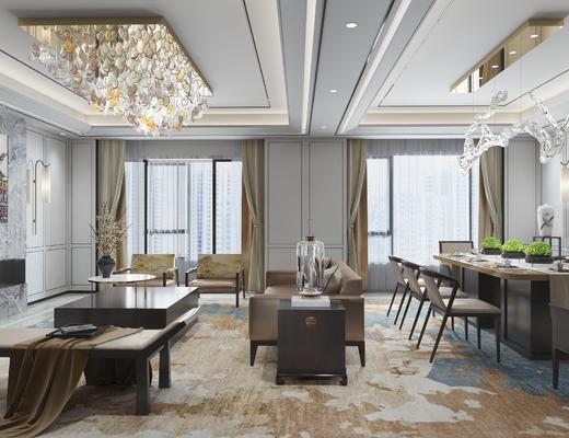 新中式客厅, 餐桌椅沙发茶几组合, 餐桌椅组合, 吊灯, 吸顶灯, 壁灯, 装饰柜
