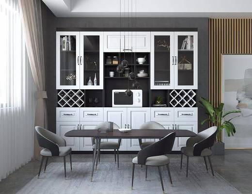 酒柜, 桌椅組合, 盆栽植物, 酒架酒柜