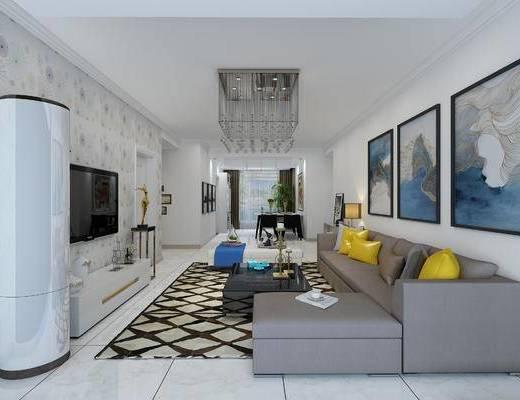 柱形小空调, 水晶吊灯, 转角沙发, 现代客厅, 沙发组合, 沙发茶几组合