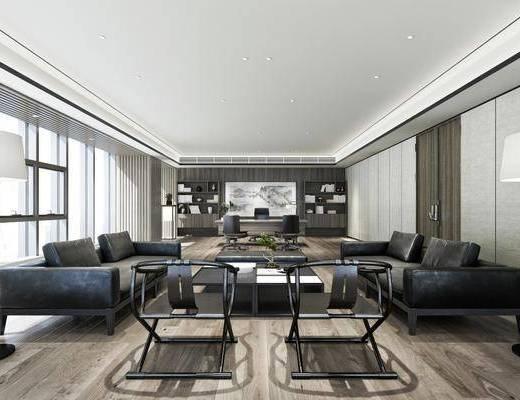 办公室, 多人沙发, 茶几, 单人椅, 落地灯, 书桌, 办公桌, 办公椅, 台灯, 装饰架, 装饰柜, 书柜, 书籍, 摆件, 装饰品, 陈设品, 现代