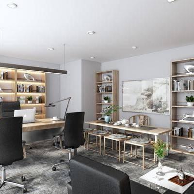 办公室, 办公椅, 轮滑椅, 书架, 摆件, 单人沙发, 茶几, 台灯, 新中式