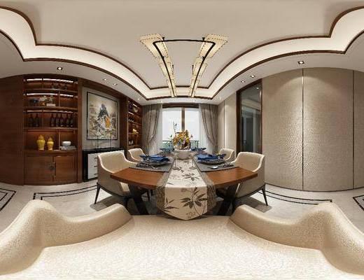 餐厅, 中式餐厅, 新中式餐厅, 餐桌椅, 桌椅组合