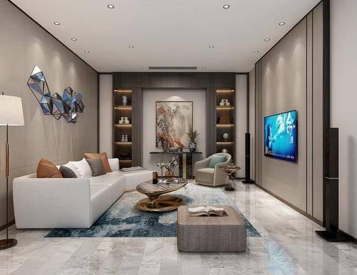 现代, 影音室, 多人沙发, 单人沙发, 凳子, 茶几, 边几, 端景台, 落地灯