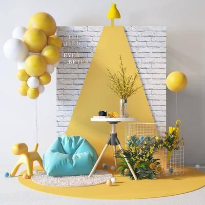 现代气球黄色美陈