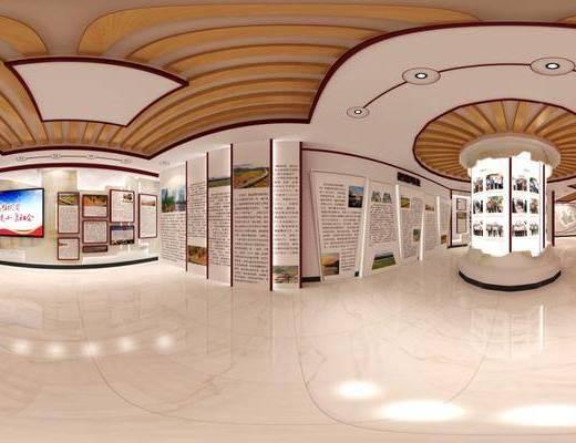 文化展廳, 展覽展廳, 工裝全景, 新中式