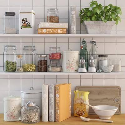 食物调味品, 盘栽, 本子, 切菜板, 玻璃罐, 勺子, 碗, 现代