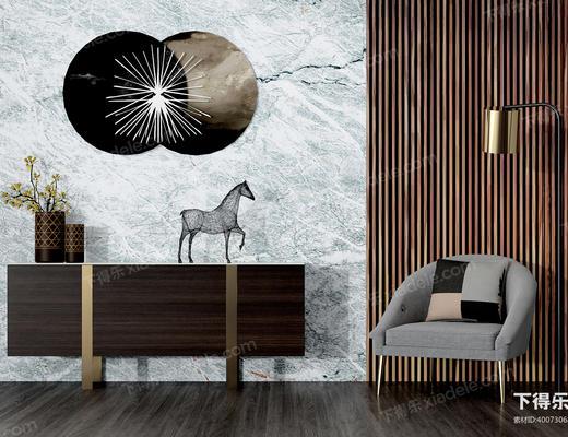 边柜, 陈设品, 装饰, 单人沙发, 单人椅, 马