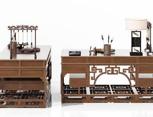 新中式, 书桌, 毛笔, 毛笔架, 笔筒, 摆件, 陈设品, 端砚, 砚墨, 台灯