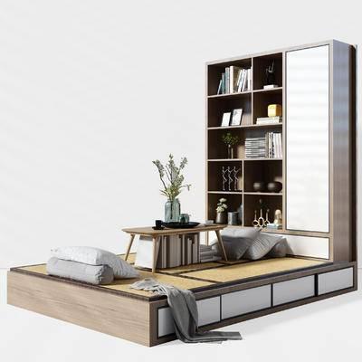 榻榻米, 茶室, 柜子, 桌子, 枕头, 书本, 装饰品