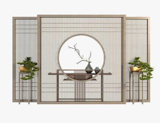 边柜, 端景台, 新中式端景台, 屏风