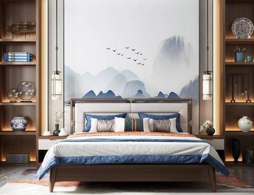 双人床, 床具组合, 背景墙, 吊灯, 装饰柜