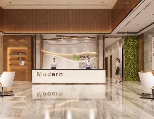 现代大厅, 现代前台, 桌椅组合, 前台