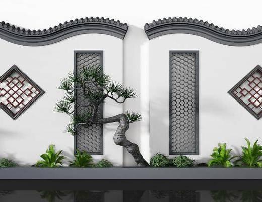 馬頭墻, 圍墻, 樹木, 綠植植物, 新中式