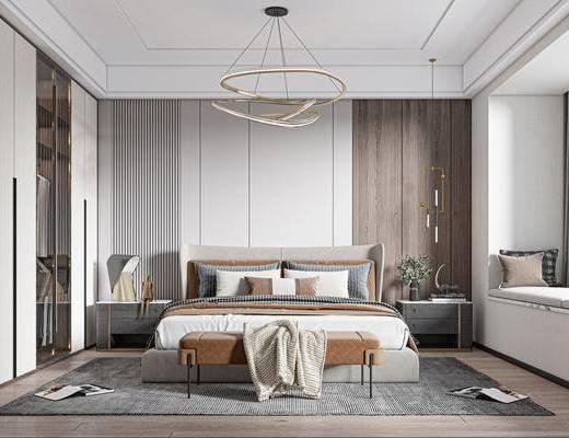 现代轻奢, 卧室, 双人床, 地毯, 床头柜, 吊灯