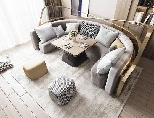沙发组合, 茶几, 抱枕, 摆件组合
