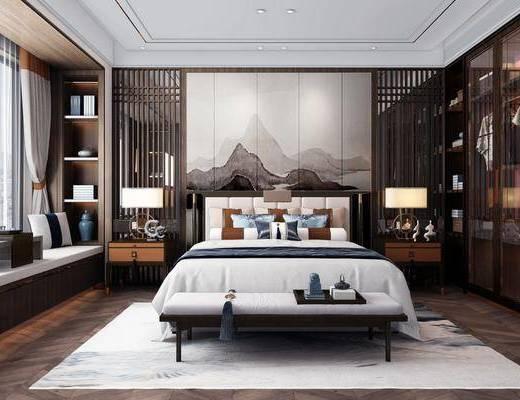 双人床, 衣柜, 背景墙, 床尾踏, 床头柜