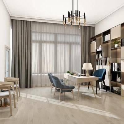 书房, 书柜, 书桌椅, 椅子, 桌子, 吊灯, 休闲椅, 单椅, 现代