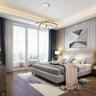 现代卧室, 现代, 卧室, 床, 装饰画, 现代吊灯, 床头柜