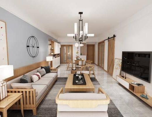 现代客厅, 现代客餐厅, 客餐厅, 客厅, 现代沙发茶几组合, 沙发组合