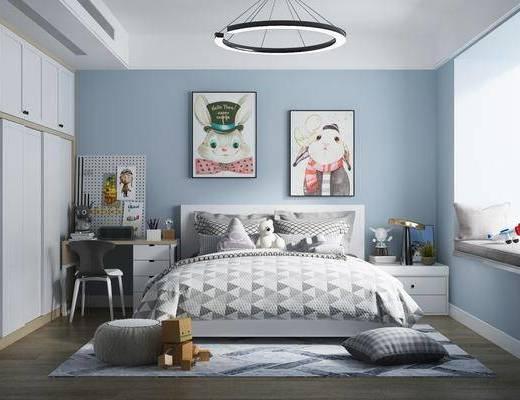 儿童房, 卧室, 床具组合, 挂画组合, 桌椅组合, 摆件组合, 台灯, 吊灯, 现代
