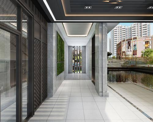 售楼处, 走廊, 过道, 植物墙, 水面, 现代