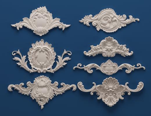 欧式石膏雕刻, 雕花, 单花, 对角花, 构件, 石膏