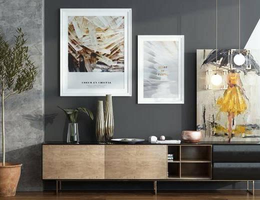 现代电视柜, 柜架组合, 边柜