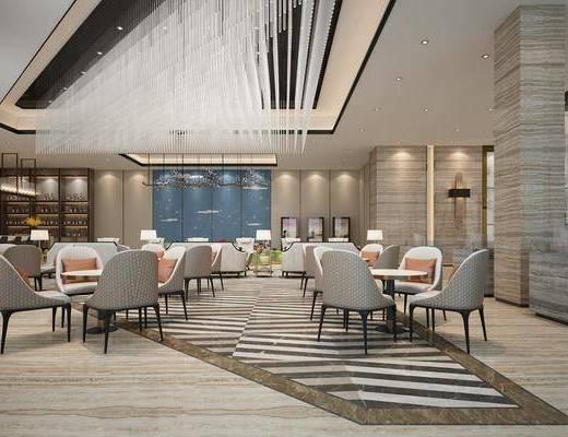 酒店大堂, 大堂大厅, 餐桌, 餐椅, 单人椅, 吊灯, 酒柜博物架, 水晶吊灯, 护墙板, 地面拼花, 桌椅组合, 新中式