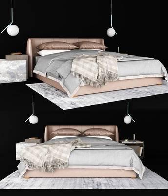 现代, 双人床, 吊灯, 床头柜, 摆件