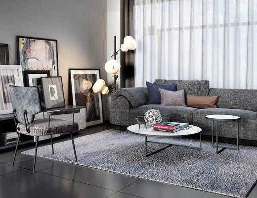 沙发组合, 茶几, 装饰画, 落地灯, 抱枕, 摆件组合, 单椅